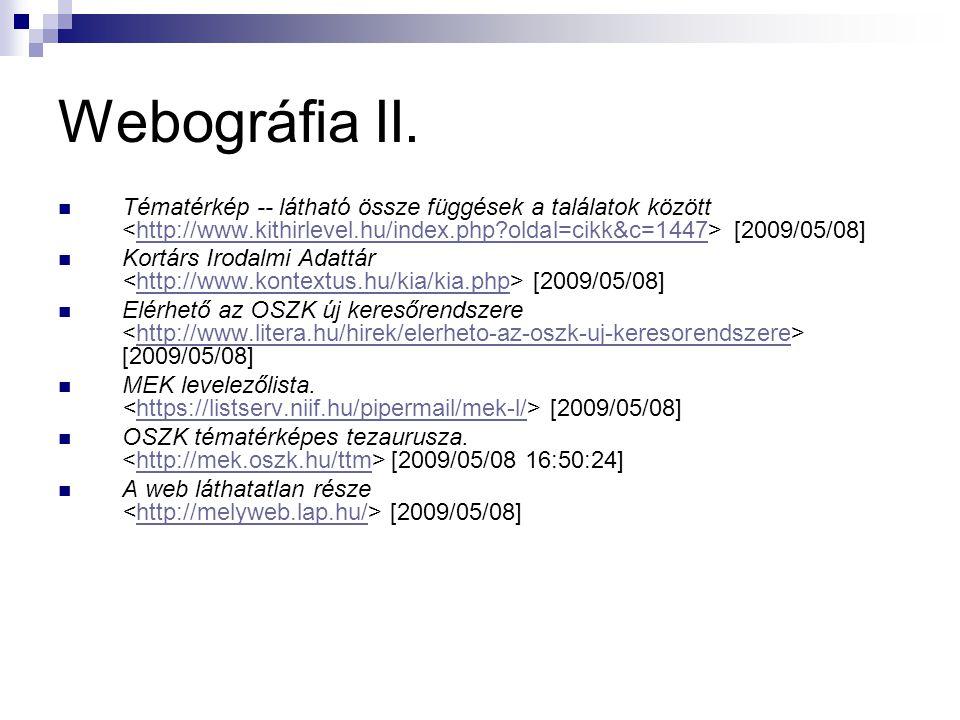 Webográfia II. Tématérkép -- látható össze függések a találatok között <http://www.kithirlevel.hu/index.php oldal=cikk&c=1447> [2009/05/08]